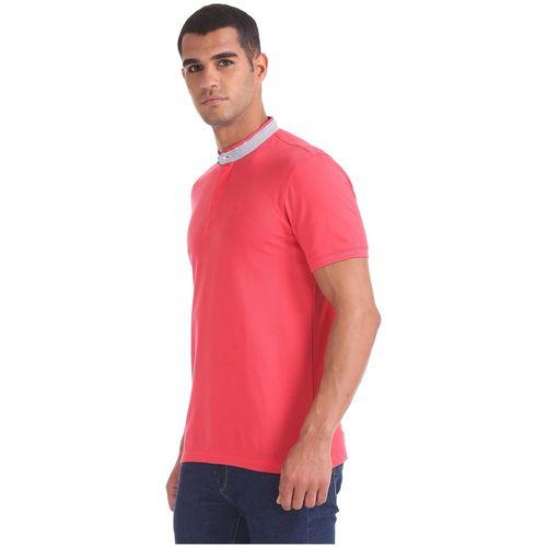 Arrow Men Orange Regular fit Cotton Henley neck T-Shirt - Pack Of 1 by Arvind Lifestyle Brands