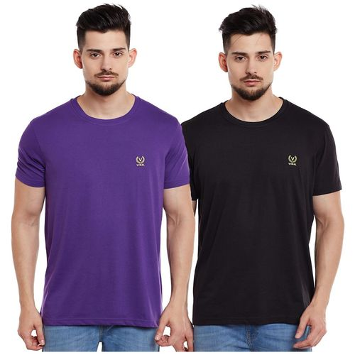 VIMAL JONNEY Men Multi Slim fit Cotton Round neck T-Shirt - Pack Of 2 by Mack Hosiery