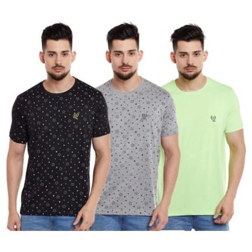 VIMAL JONNEY Men Multi Regular fit Cotton Round neck T-Shirt - Pack Of 3 by Mack Hosiery