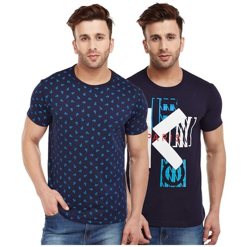 VIMAL JONNEY Men Multi Regular fit Cotton Blend Round neck T-Shirt - Pack Of 2 by Mack Hosiery