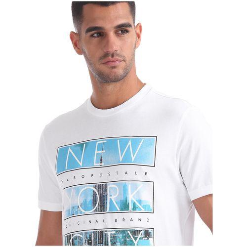 Aeropostale Men White Regular fit Cotton Round neck T-Shirt - Pack Of 1 by Arvind Lifestyle Brands