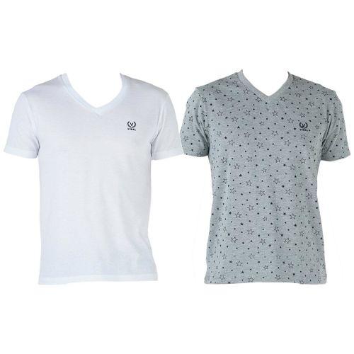 VIMAL JONNEY Men Multi Regular fit Cotton V neck T-Shirt - Pack Of 2 by Mack Hosiery