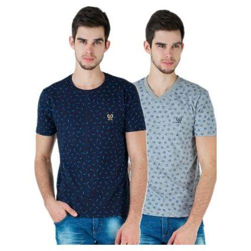 VIMAL JONNEY Men Multi Regular fit Cotton Round neck T-Shirt - Pack Of 2 by Mack Hosiery