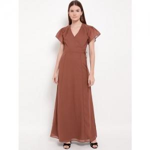KAZO faux wrap gathered detail gown