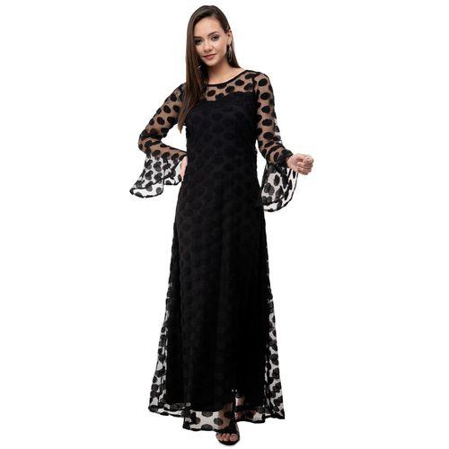 KARMIC VISION bell sleeved polka dot maxi dress