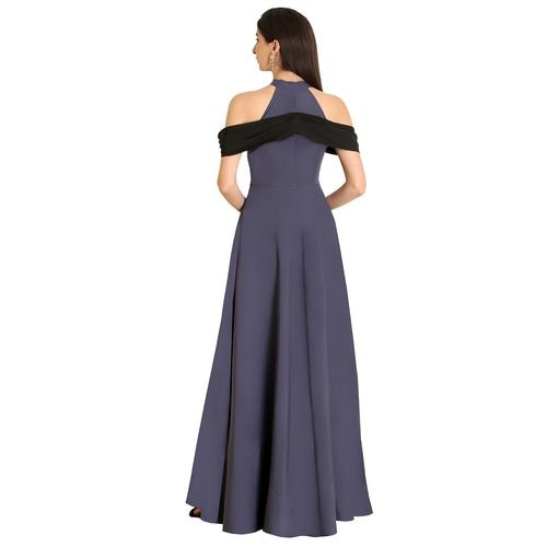 Raas cold shoulder contrast detail gown