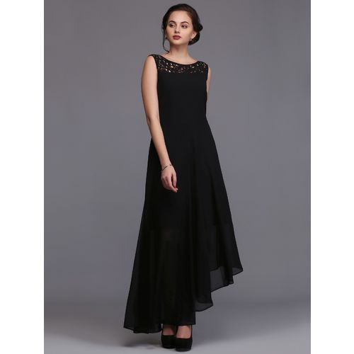 Eavan lace detail asymmetric maxi dress