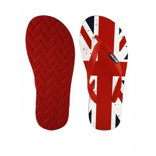 Bacca Bucci Men Red & White Printed Flip-Flops
