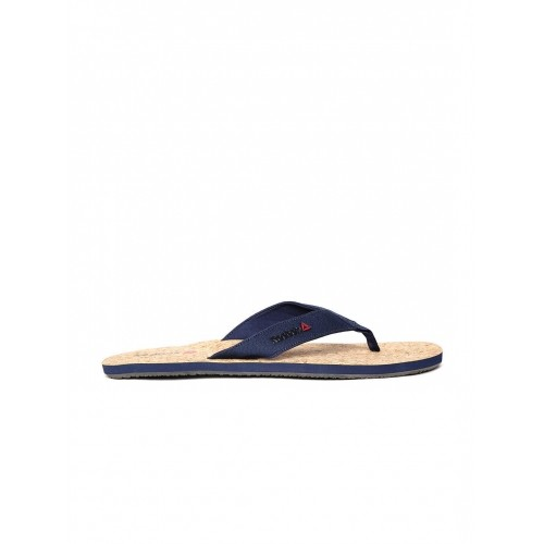 Reebok Men Navy & Brown Eco Cork Flip-Flops
