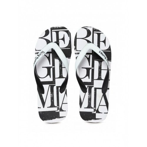 Being Human Men White & Black Printed Flip-Flops