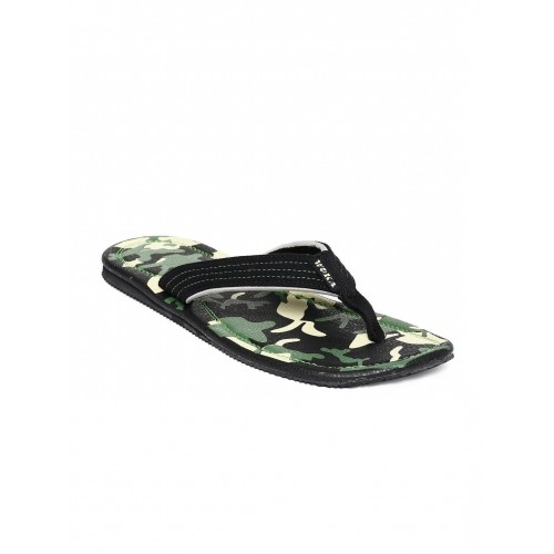 WOKA Men Black Printed Flip-Flops