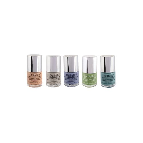 debelle natural gel nail polish combo of 5 (peach,nude,purple,pastel green,teal green)