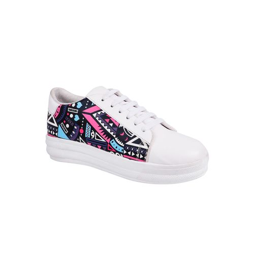 Longwalk white lace-up sneakers