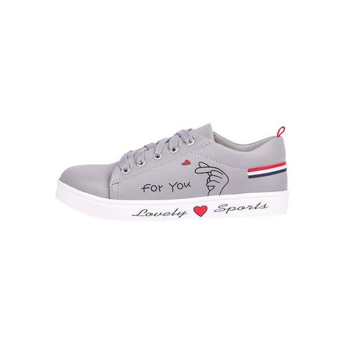 longwalk grey leatherette lace-up sneakers