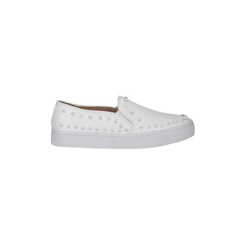 Truffle Collection white patent leather slip on loafers