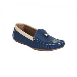 GET GLAMR blue faux leather slip on loafers