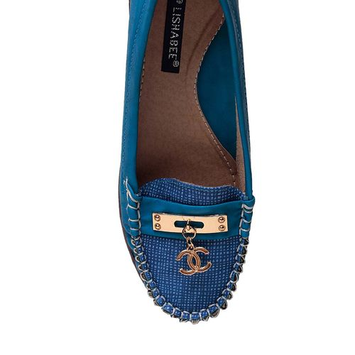 MSC blue faux leather slip on loafers