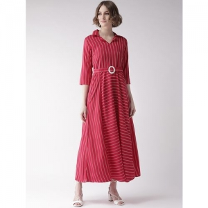 U&F shirt collar striped maxi dress
