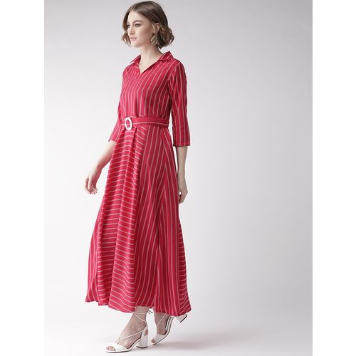 U&F shirt collar striped maxi dress