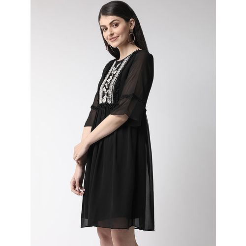 Antheaa frill trim embroidered panel a-line dress