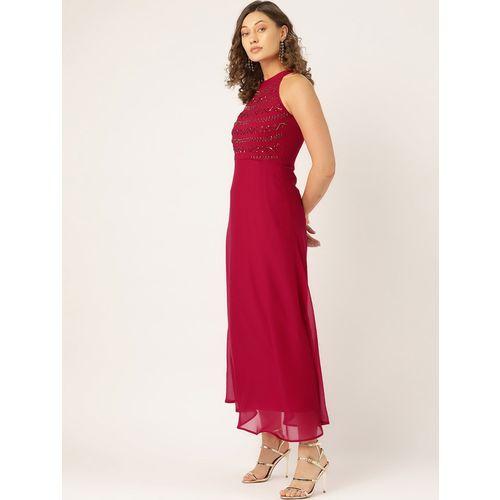 Antheaa halter neck embellished flared dress
