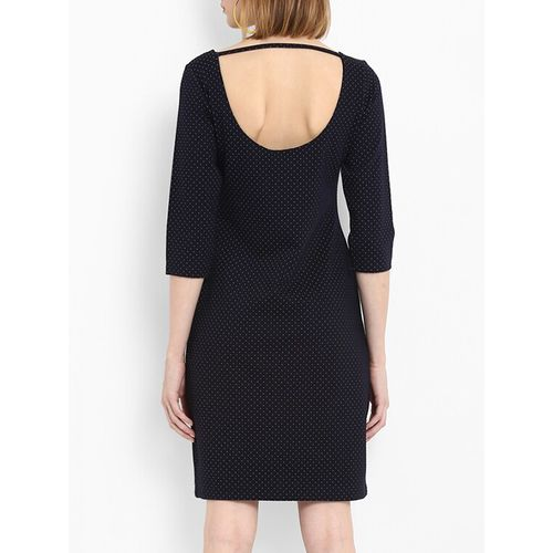 FOSH cutout back pin-dot sheath dress