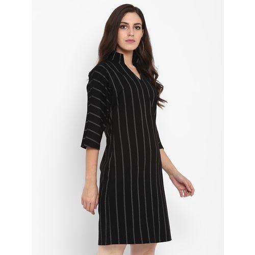 FOSH striped band collar a-line dress