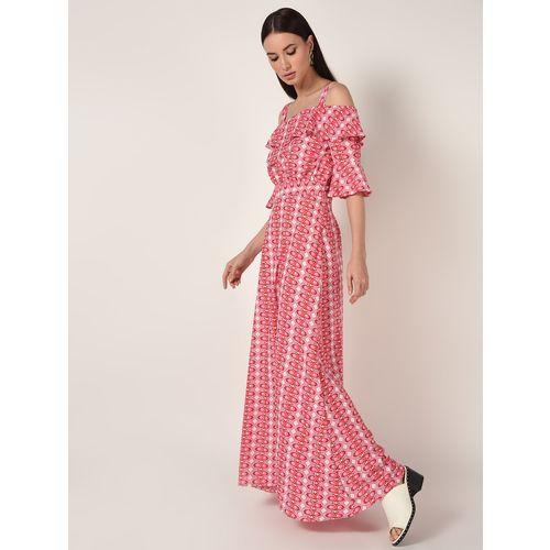 A K Fashion cold shoulder bell sleeved maxi dress