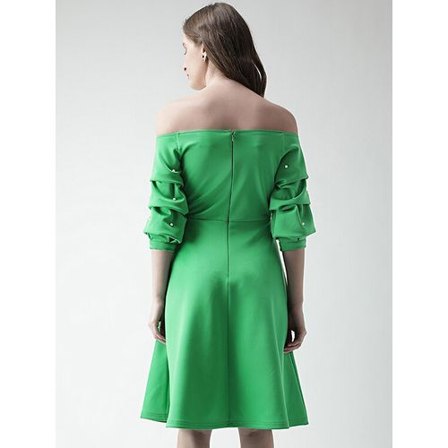 KASSUALLY Green Polyester off shoulder flared dress