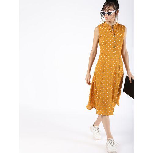 A K Fashion mandarin neck polka dots a-line dress