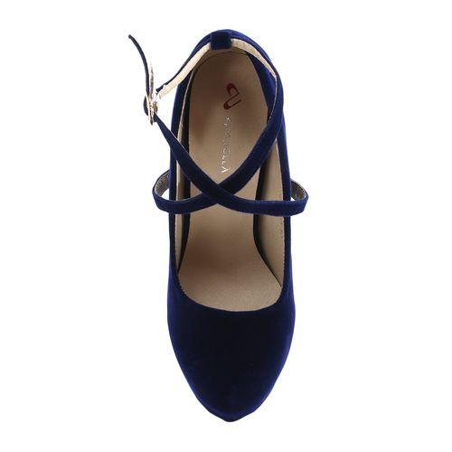 Shuberry navy velvet platforms sandals