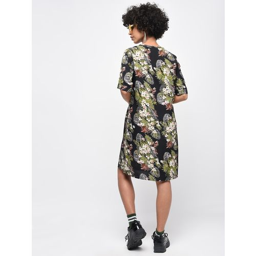 Passionate tropical print a-line dress