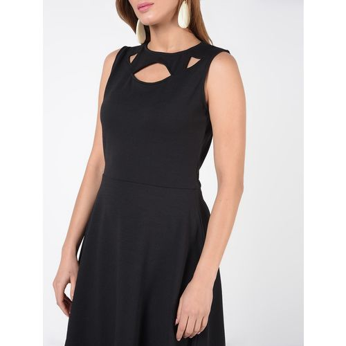 SOHO cut out neck solid flared dress