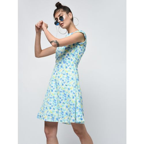 Marie Lucent cap sleeved floral a-line dress