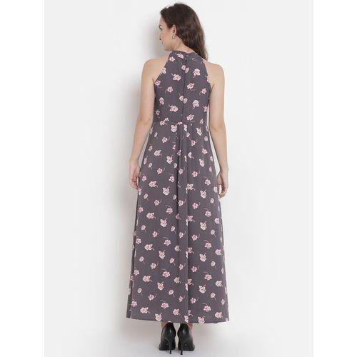 ABITI BELLA halter neck floral high slit dress