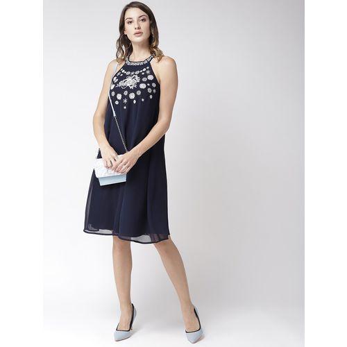 Antheaa halter neck embroidered shift dress
