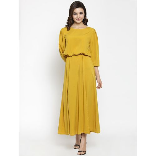 AFAMADO blouson waist solid maxi dress