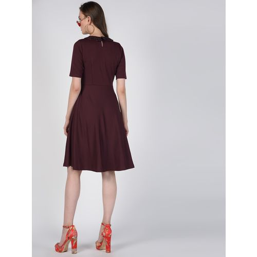SOHO embellished peter pen neck flared dress