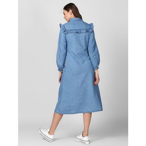 StyleStone bishop sleeved denim shirt dress