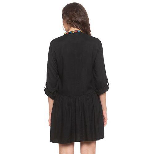 Globus mandarin neck button-up a-line dress