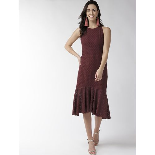 TAURUS round neck laced a-line dress