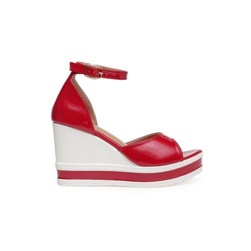Nupie maroon ankle strap wedge
