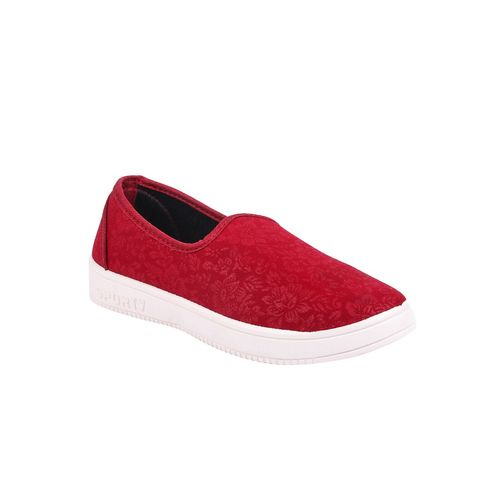 creattoes red slip on casual shoes