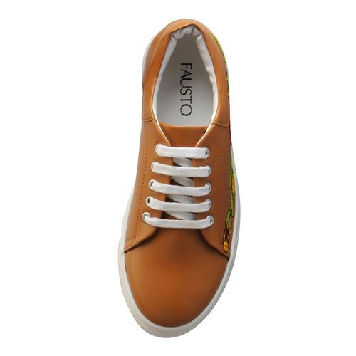 FAUSTO beige synthetic laceup casual shoes