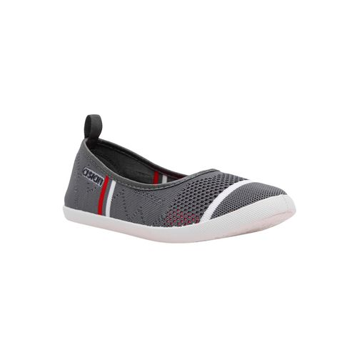 asian grey fabric slip on casual shoes