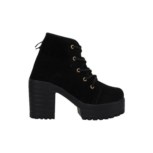 AASHEEZ black ankle lace up boots