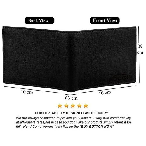VINISHA ENTERPRISE Black Leather Wallet For Men, PU Leather, Bi-Fold, Hand Made, Long Lasting Quality, (Model-MW-SA-BL-0019) by Vinisha
