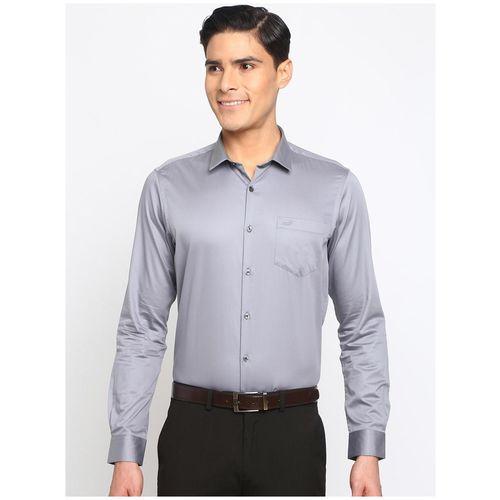 92ELMNTS Men Grey Solid Regular Fit Casual Shirt by R B Group
