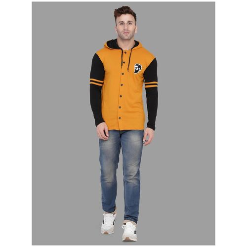 BLISSTONE Men Cotton Blend Colorblocked Mustard & Black Casual Shirt by Aarav Sales Corporation