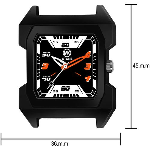 Mkstone Analogue full Squre Black Dial Chain Men's Watch-109 by M R Traders
